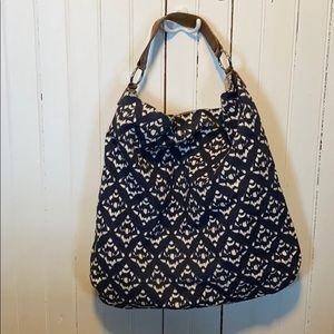 Talbots Canvas Tote Bag Blue and White